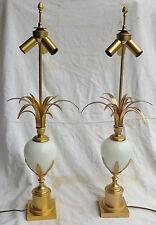 1970' Paire de Lampes Opaline Blanche Maison Charles