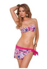 Printed Bandeau Top Solid Bottom Waist Wrap Two Piece Bikini Swimwear Small