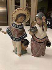 Mexican Water Boy & Girl figurines marked Lladro Daisa 1984 Beautiful!