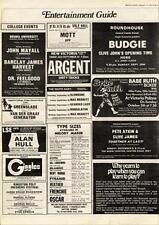 Argent Dirty Tricks New Victoria Theatre, London MM5 show Advert 1975