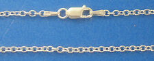 "14K Solid White Gold 2mm Oval Link Cable Chain 20"" 4.5gr Italian Made"