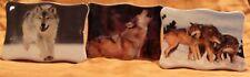 3 St. Wolf Bild, lasierter Fotodruck auf Keramik zum Stellen oder Hängen