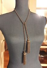 Vintage Monet Double Tassel Fringe Heavy Silver Tone Dangling Pendant Necklace