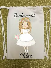 PERSONALISED - bridesmaid - WEDDING GIFT BAG - drawstring flowers