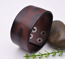 Biker Charm Quality Western cowboy cowhide Leather Wristband Bracelet LT Brown