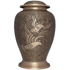 Doves, Birds - Brass Funeral Cremation Urn,  Adult, 200 cubic inches
