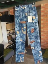Carla Kops Ladies French Designer Jeans in a Blue Abstract Pattern Size 8 - NWTO