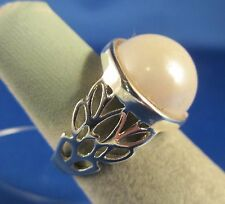 Large Pearl Ring Wide Ornate Silver Band Size 7