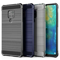 Huawei Mate 20 X Carbon Fibre Best TPU Silicone Gel Case Protection Phone Cover