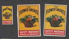 Ancienne   étiquette  allumette  Suède  BB101   Bouquet de Fleurs 5