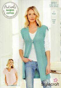 9751 Stylecraft Ladies Waistcoat and T-Shirt Knitting Pattern In DK Naturals