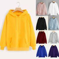 Womens Long Sleeve Hoodie Sweatshirt Hooded Pullover Tops Blouse With Pocket