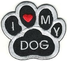 Black White I love heart my Dog Animal Paw Print Embroidery Patch