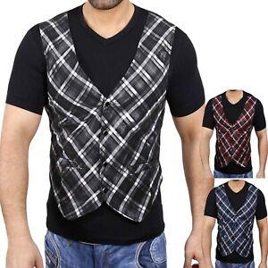 Kickdown Herren Kurzarm 2in1 V-Neck Kontrast T-Shirt Hemd Style KDWN-1911 WOW!
