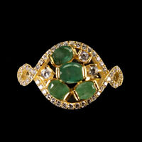 Unheated Oval Green Emerald 5x4mm Cubic Zirconia 925 Sterling Silver Ring Size 7