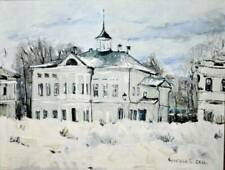 OLD WINTER MUSEUM LARGE OIL CANVAS ORIGINAL PAINTING RUSSIAN ART SIGNED LISTED