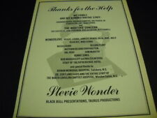 Stevie Wonder thanks family - Wonderlove - others Original 1974 Promo Poster Ad
