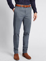 MEN`S NEW M&S COTTON STRETCH SLIM FIT CHINO TROUSERS CASUAL PANTS