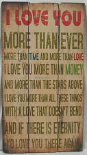82cm Rustic Wooden Wall Sign I Love You More Than Ever More Than The Stars Above
