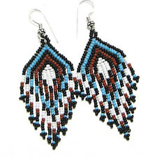 New Women Blue Brown White Handcrafted Fashion Beaded Hook Earrings E16/66