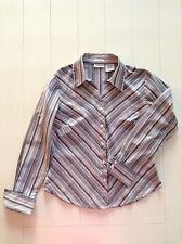 St. Johns Bay LS Button-Up Fitted Blouse/Top Navy/White Stripe Size Medium EUC