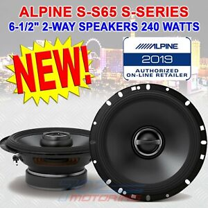 ALPINE S-S65 2-WAY 6-1/2 INCH COAXIAL CAR AUDIO SPEAKERS 240 WATTS S-SERIES NEW!