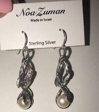 """NOA ZUMAN ISRAEL - 925 Sterling Silver Pearl Drop Dangle Earrings NEW 2"""""""