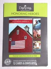 DaySpring Honoring Heroes Greeting Cards - 12 cards/envelopes 4 designs - New