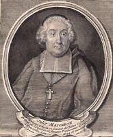 Portrait XVIIIe Jules Mascaron Evêque Tulle Congrégation Oratoire De Jésus  1750