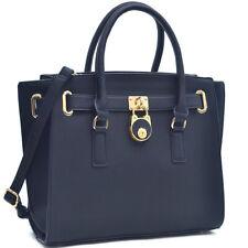 Dasein Womens Handbags Faux Leather Satchels Tote Bag Padlock Large Purse