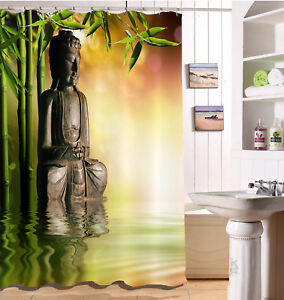 Bamboo forest Buddha Waterproof SPA Fabric Zen Shower Curtain Set Bathroom Hooks