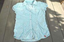 Esprit chemise manche courte, carreau bleu blanc, XL, en coton