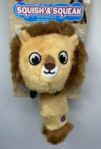 "Plush Dog Toy 10"" Squish & Squeak Slow Rising Squishy Body Squeaky Tail Lion"