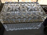 VINTAGE HEAVY FRENCH CRYSTAL JEWELRY CASKET BOX, Circa 1930's, BACCARAT??