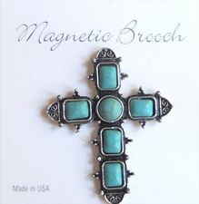 Magnet Brooch Religious Cross Clip Clasp Pin Turquoise Antique Silver Metal