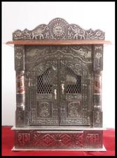 BEAUTIFUL OXODIZED WOODEN HINDU POOJA TEMPLE MANDIR SHRINE 15 x 7 x 21 INCHES
