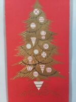 Vtg 1960s GOLD & GLITTER Tree w ORNAMENTS Sunshine CHRISTMAS GREETING CARD