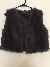 Women's Brown black mix faux fur warm vest jacket SIZE XL