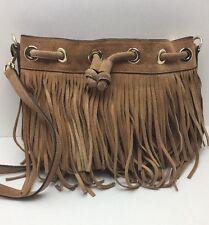 Rebecca Minkoff Mini Fiona Fringe Suede Leather Bucket Tan  Bag (MSRP$275)A