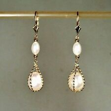 14k solid gold 11x8mm natural teardrop freshwater white Pearl earrings leverback