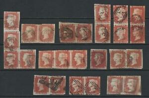 QV 1d Red Imperforate. Mostly Pairs, Multiples