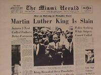 VINTAGE NEWSPAPER HEADLINE ~CRIME DR. MARTIN LUTHER KING SHOT KILLED DIES 1968