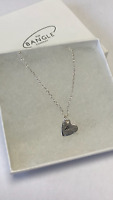 Sterling Silver Personalised Initial Hammered Heart Charm Necklace With Gift Box