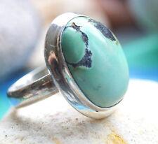 Silberring 53 Türkis Grün Modern Handarbeit Ring Silber Schlicht Elegant Kuppel