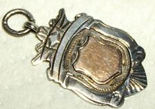 Antique STERLING & ROSE GOLD SHIELD FOB BIRMINGHAM ENGLAND 1928