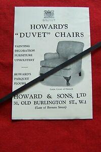 HOWARD & SONS DUVET CHAIR LOOSE COVER OF DAMASK 1939 ORIGINAL VINTAGE ADVERT
