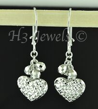 18k solid white gold heart dangling earring earrings diamond cut lever back #779
