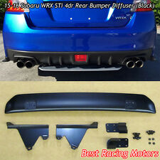 Rear Bumper Diffuser (Black) Fits 15-18 Subaru WRX STi 4dr