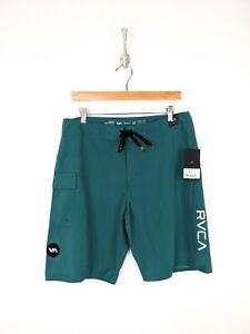 New RVCA Board Shorts Men Size 32 Green Blue Classic Non-Stretch Surfer Beach