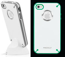 MACALLY GLOW-IN-THE-DARK WHITE GRAY TPU SKIN CASE + DOCK STAND FOR iPHONE 4S 4
